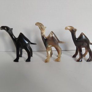 3/$85* Hand-carved Buffalo Horn camel figurine Set